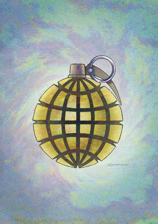 Globe shaped as hand grenade