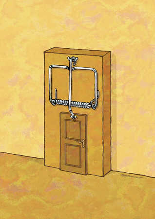 Mouse trap over door