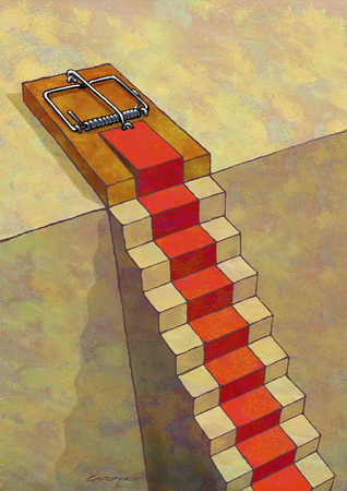 Mouse trap at top of staircase
