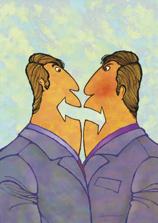 Two men arguing with arrows as mouth