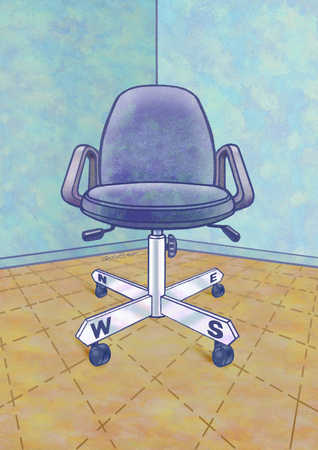 Chair with legs pointing four directions