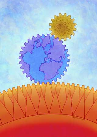Sun, moon, and earth as gears