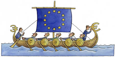 European leaders rowing boat with EU flag