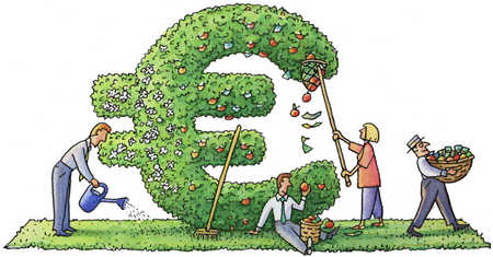 Decorating and cultivating Euro symbol