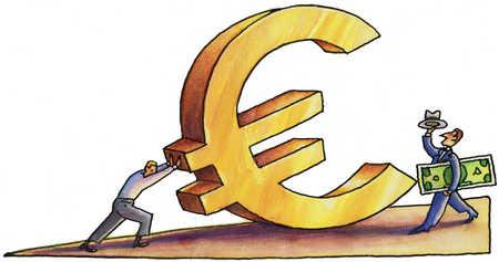 Man pushing a euro symbol