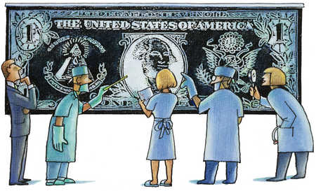 Group of healthcare workers analyzing dollar bill