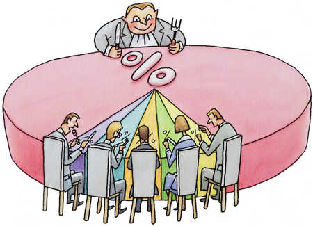 Business people dining on a pie chart
