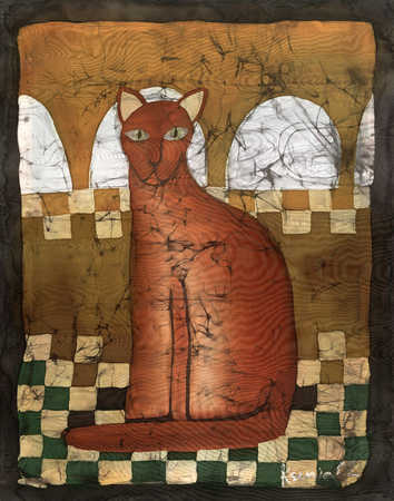 Brown cat sitting on checkerboard floor