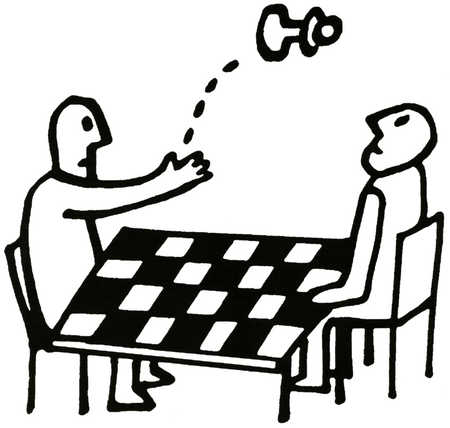 Person tossing a chess piece at opposing player