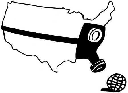 United States wearing a gas mask looking at a globe.
