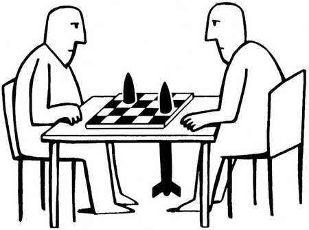 Two men playing chess with rockets as pieces