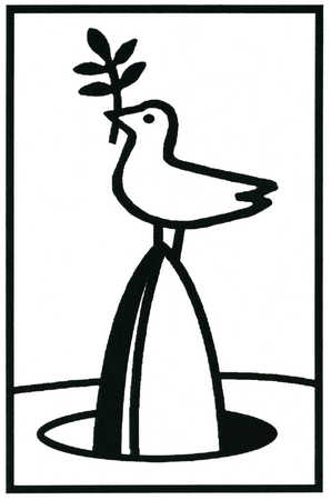 Peace dove standing on head of rocket