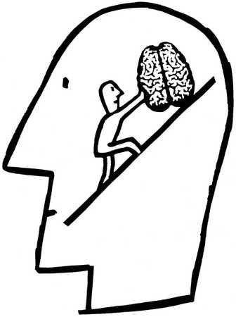 Small man on ladder inside human head pushing a brain uphill