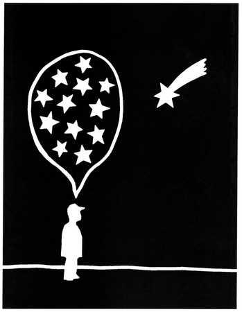 Man thinking of stars watching a shooting star
