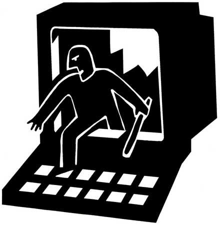 Man stepping out of a monitor which he has just smashed