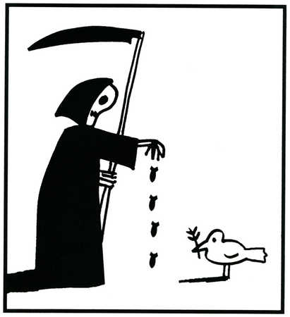 Grim Reaper dropping bombs before a peace dove