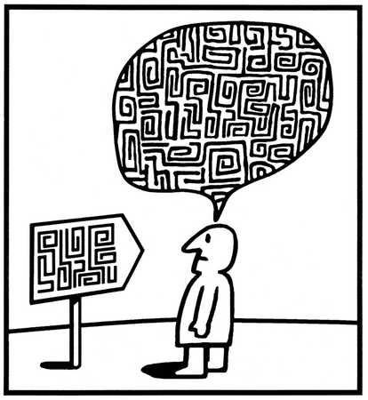 Man viewing and thinking of a maze