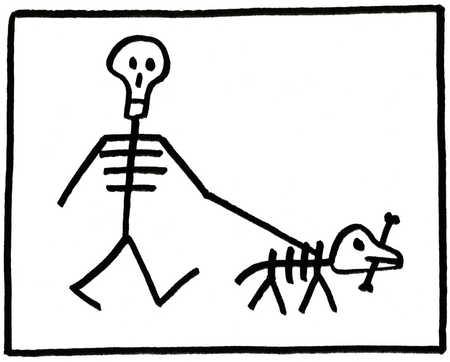 Skeleton walking a skeleton dog
