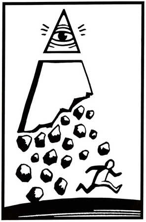 Pyramid crumbling over running man