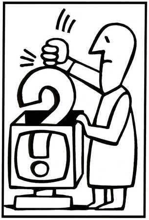 Man bashing a question mark into a box