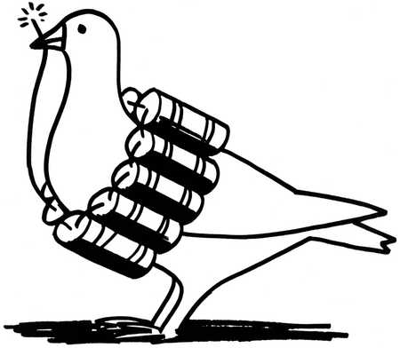 Peace dove strapped with dynamite