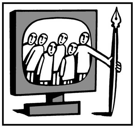 Group of people in TV screen holding a pen