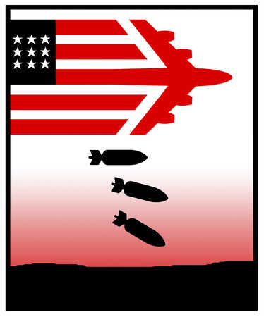 Plane shaped as an American flag dropping bombs