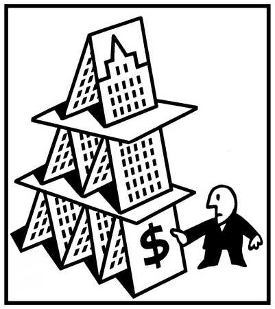 Highrise built of cards with a man removing one card from the bottom