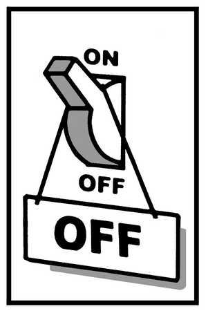 Light Switch With Off Sign Hanging From
