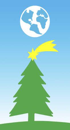 Christmas tree with shooting star