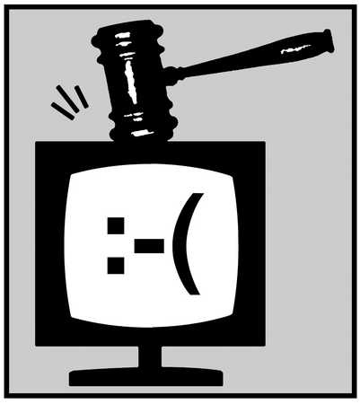 Gavel hammering on a TV monitor with unhappy face