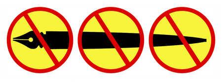Pen with three prohibited symbols