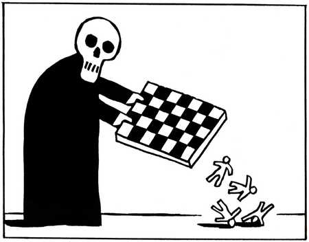 Skeleton emptying chess boards of humans