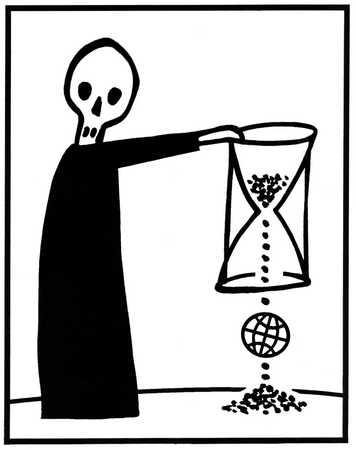 Skeleton dropping globe through hourglass