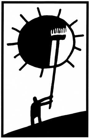 Person painting sun black