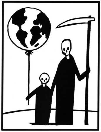 Grim Reaper and son, one holding scythe, the other a balloon as a globe