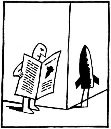 Man walking with newspaper with a rocket standing around the corner