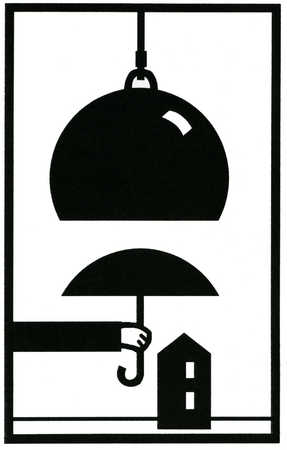 Hand holding an umbrella between a weight and house