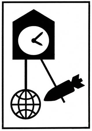 Rocket swinging on clock pendulum into a globe
