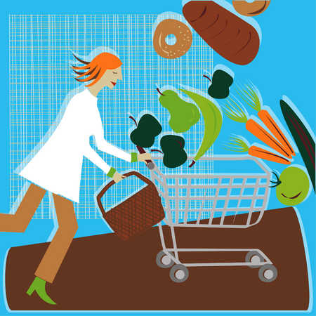 Woman With Grocery Cart