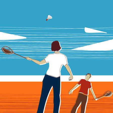 People Playing Badminton