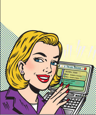 Woman Trading Stocks Online