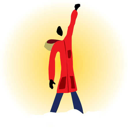 Person wearing jacket with arm raised