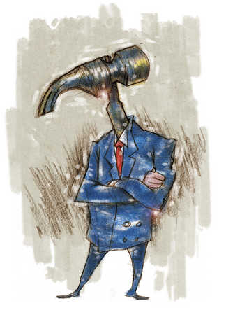 Businessman with hammer for head
