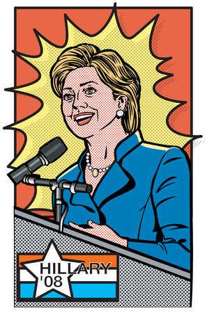 Female presidential candidate speaking at podium