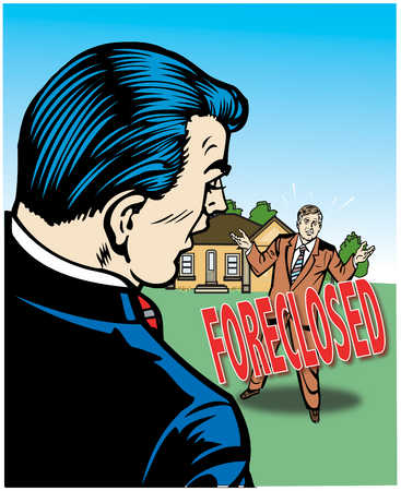 Businessman looking at house in foreclosure