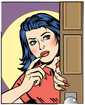Woman looking around door