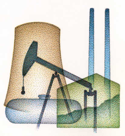 Illustration of oil derrick, factory and nuclear reactor