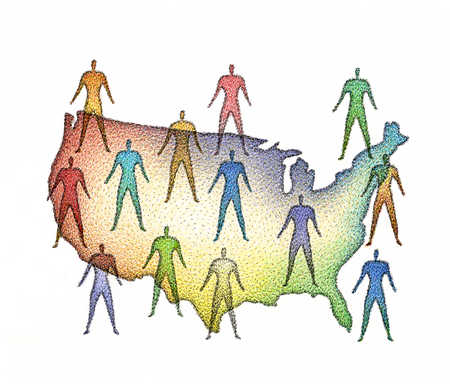 Group of people on map of United States