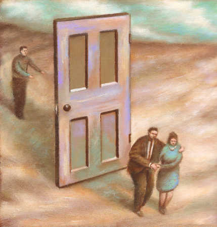 Couple and man on opposite sides of door